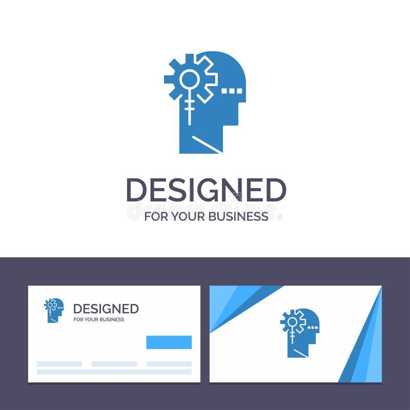 Kreative Visitenkarte- und Logoschablone Analytics, kritisch, menschlich, Informationen, Vektor-Illustration verarbeitend vektor abbildung