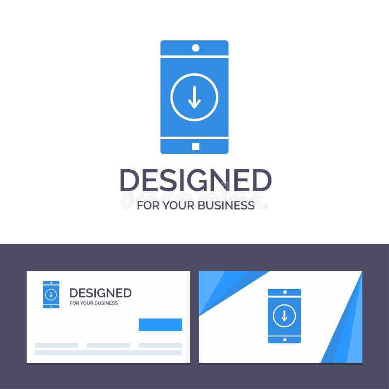 Kreative Visitenkarte- und Logoschablone Anwendung, Mobile, bewegliche Anwendung unten Pfeil-Vektor-Illustration stock abbildung