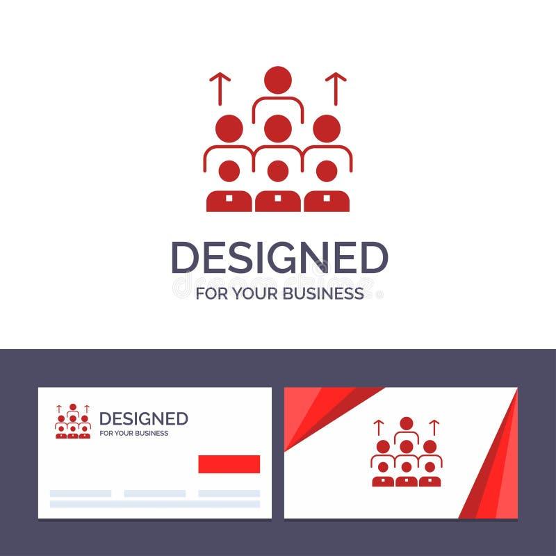 Kreative Visitenkarte- und Logoschablone Arbeitskräfte, Geschäft, Mensch, Führung, Management, Organisation, Betriebsmittel, Team lizenzfreie abbildung