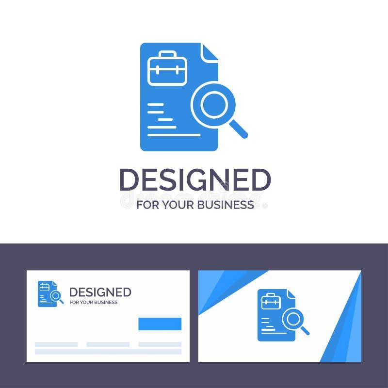 Kreative Visitenkarte- und Logoschablone Arbeitskraft, Dokument, Suche, Job-Vektor-Illustration stock abbildung