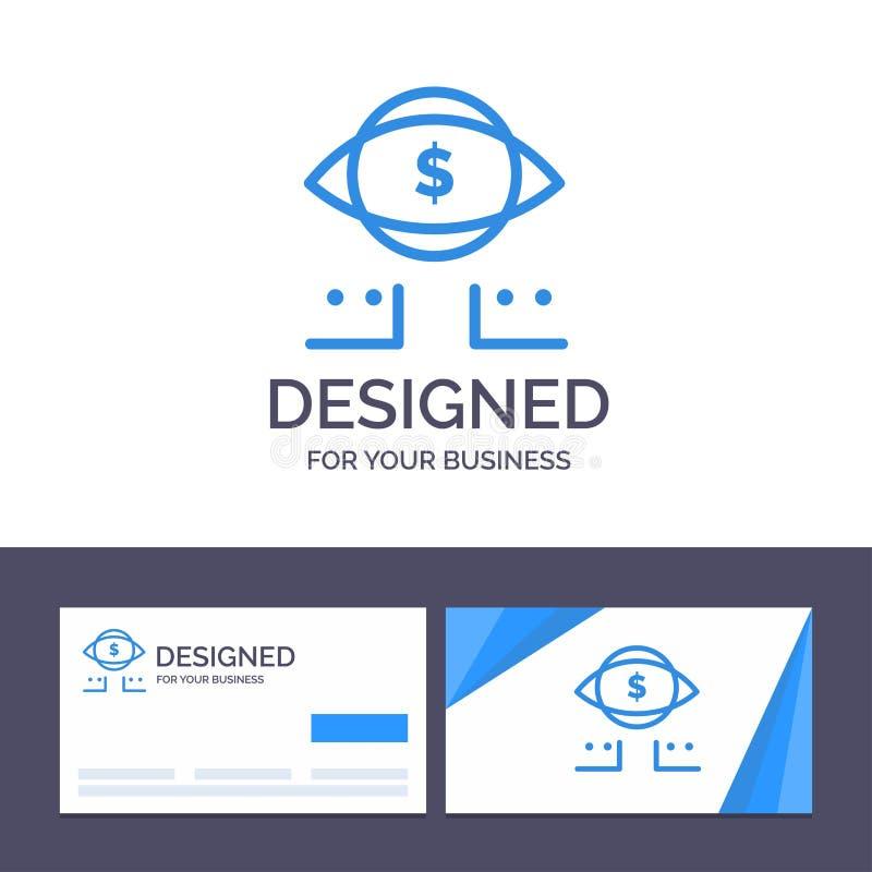 Kreative Visitenkarte- und Logoschablone Auge, Dollar, Marketing, Digital-Vektor-Illustration vektor abbildung