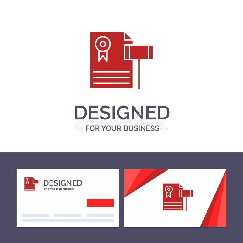 Kreative Visitenkarte- und Logoschablone Auktion, Weinlese, teuer, Kies, Richter Vector Illustration vektor abbildung