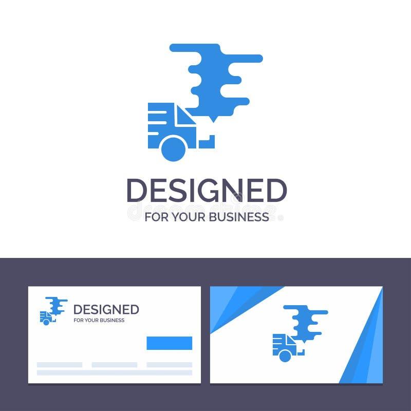 Kreative Visitenkarte- und Logoschablone Automobil, Auto, Emission, Gas, Verschmutzungs-Vektor-Illustration lizenzfreie abbildung