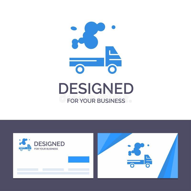 Kreative Visitenkarte- und Logoschablone Automobil, LKW, Emission, Gas, Verschmutzungs-Vektor-Illustration vektor abbildung