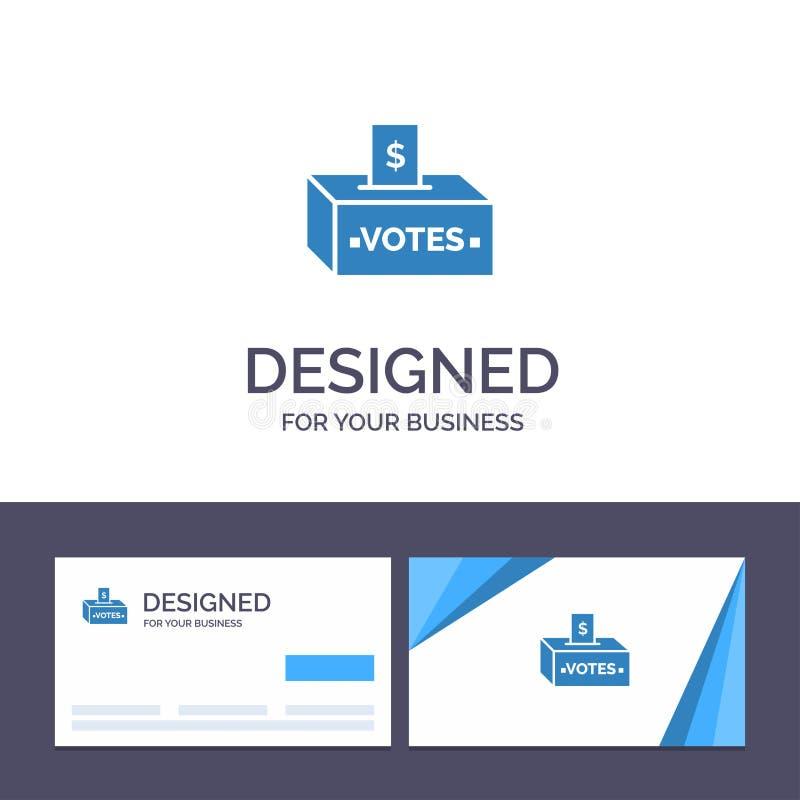 Kreative Visitenkarte- und Logoschablone Bestechungsgeld, Korruption, Wahl, Einfluss, Geld-Vektor-Illustration lizenzfreie abbildung