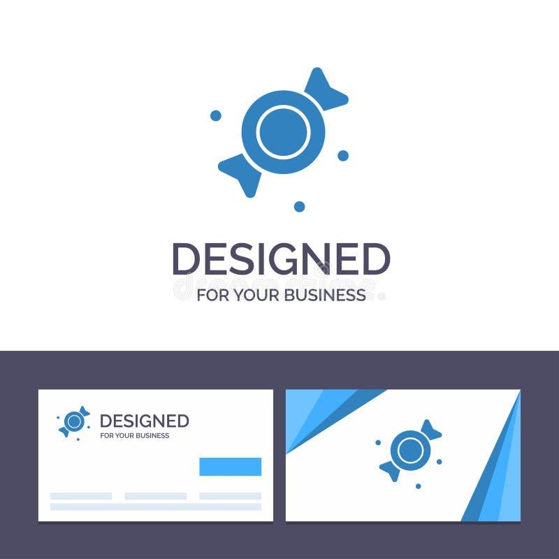 Kreative Visitenkarte- und Logoschablone Bonbon, Süßigkeit, Bonbon-Vektor-Illustration vektor abbildung