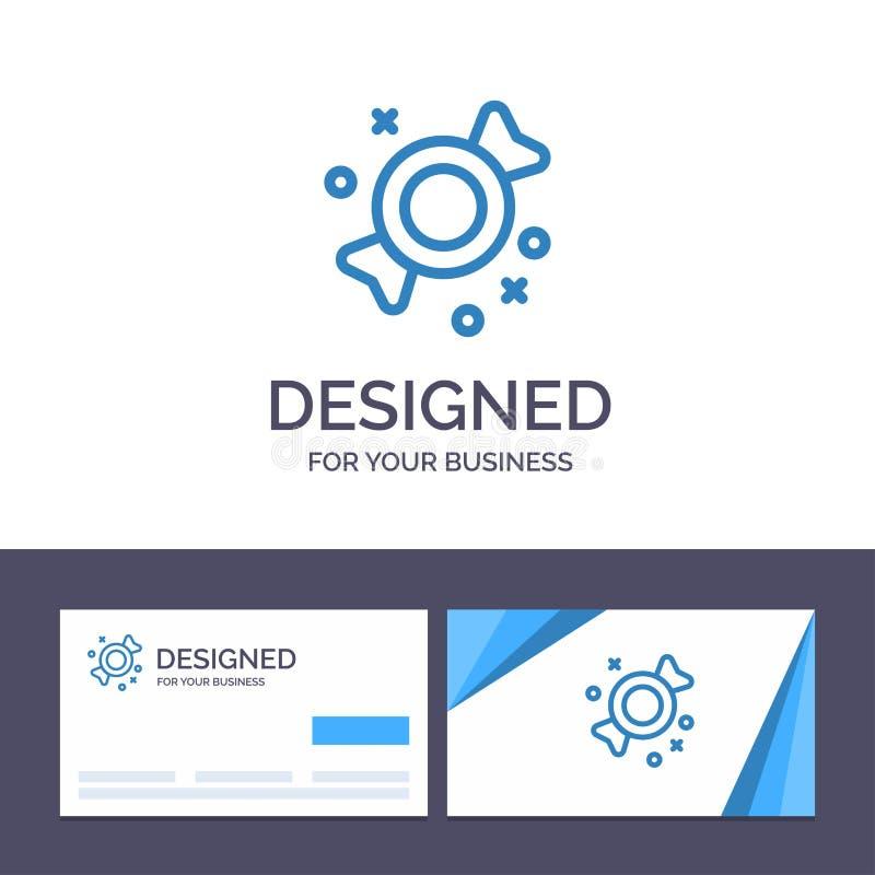 Kreative Visitenkarte- und Logoschablone Bonbon, Süßigkeit, Bonbon-Vektor-Illustration lizenzfreie abbildung