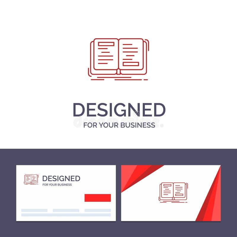 Kreative Visitenkarte- und Logoschablone Buch, Roman, Geschichte, Schreiben, Theorie-Vektor-Illustration lizenzfreie abbildung