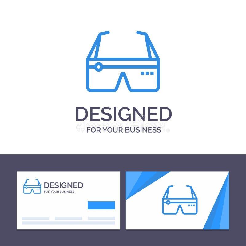 Kreative Visitenkarte- und Logoschablone Computer, rechnend, Digital, Gläser, Google-Vektor-Illustration lizenzfreie abbildung