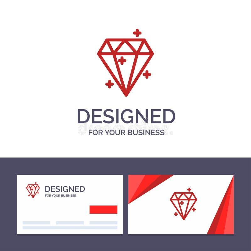 Kreative Visitenkarte- und Logoschablone Diamant, Kristall, Erfolg, Preis-Vektor-Illustration vektor abbildung