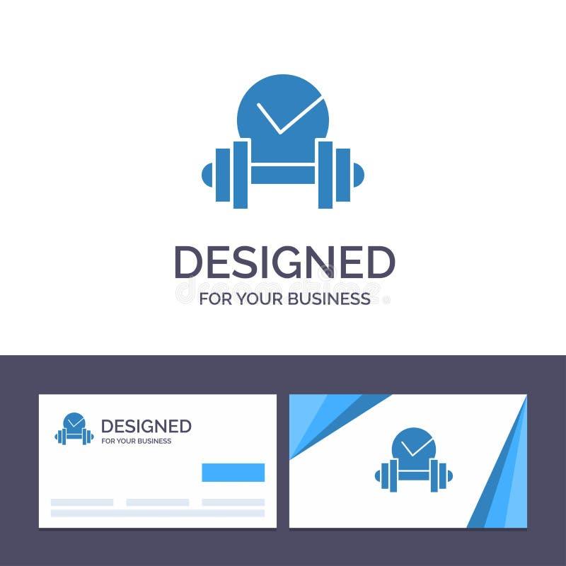 Kreative Visitenkarte- und Logoschablone Dummkopf, Gesundheitswesen, stumm, Sport-Vektor-Illustration lizenzfreie abbildung