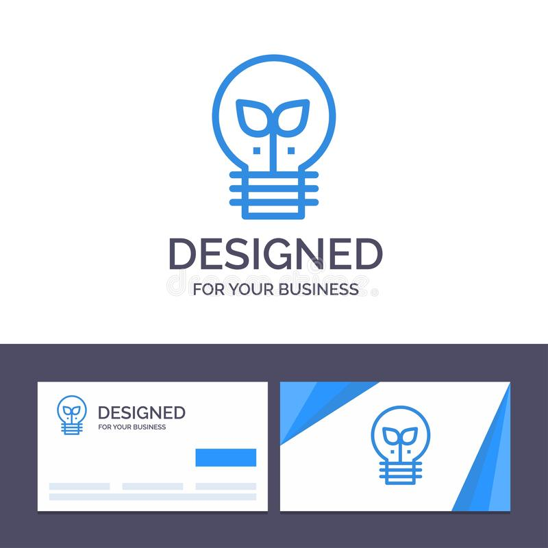 Kreative Visitenkarte- und Logoschablone Eco, Idee, Lampe, helle Vektor-Illustration vektor abbildung
