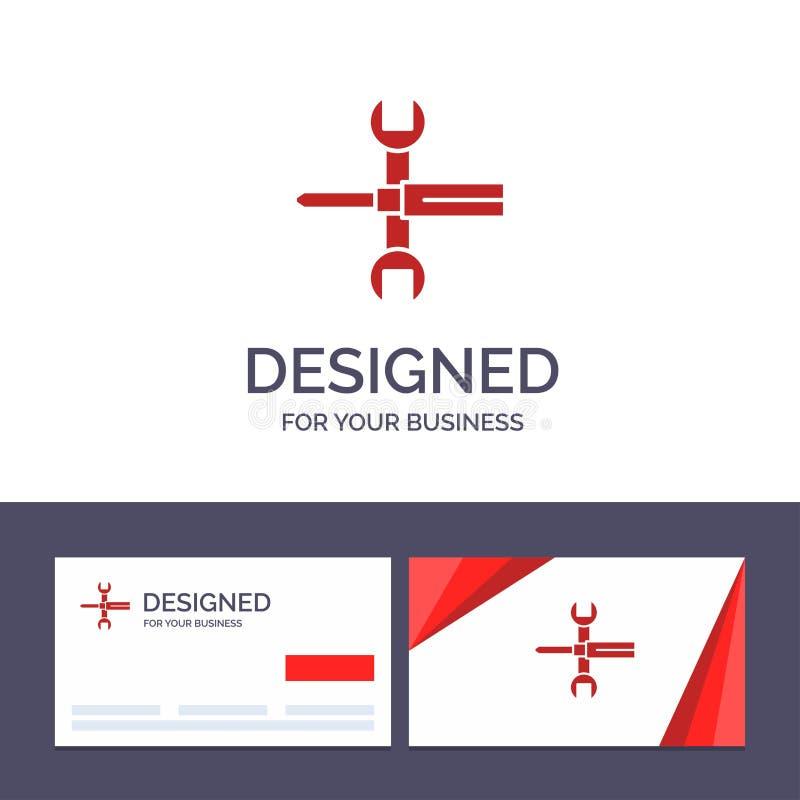 Kreative Visitenkarte- und Logoschablone Einstellungen, Kontrollen, Schraubenzieher, Schlüssel, Werkzeuge, Schlüssel-Vektor-Illus stock abbildung