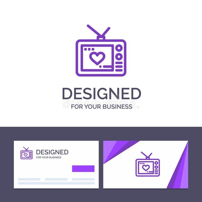 Kreative Visitenkarte- und Logoschablone Fernsehen, Liebe, Valentinsgruß, Film-Vektor-Illustration vektor abbildung