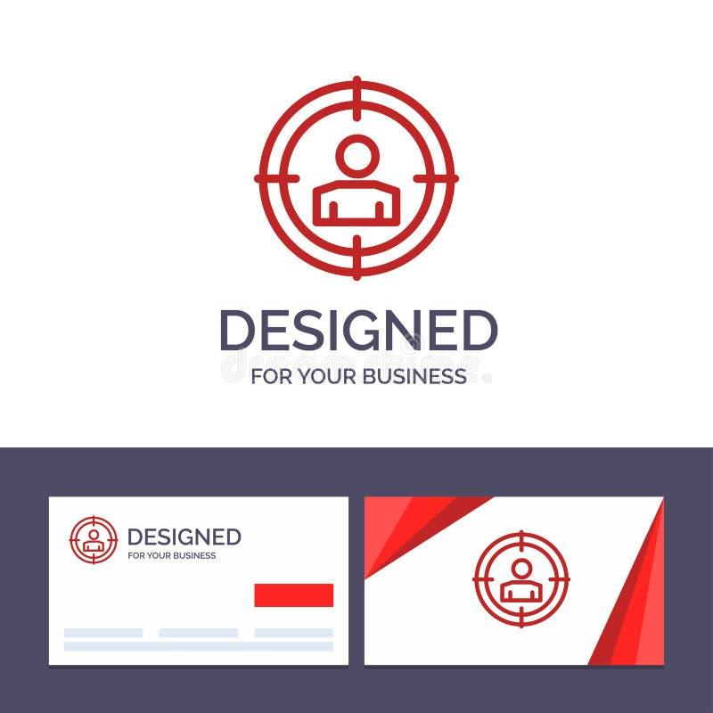 Kreative Visitenkarte- und Logoschablone Fokus, Ziel, anvisierendes Publikum, Vektor-Illustration lizenzfreie abbildung