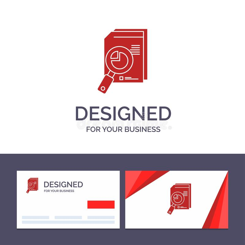 Kreative Visitenkarte- und Logoschablone Forschung, Analyse, analytisch, Analytics, Diagramm, Daten, Diagramm-Vektor-Illustration stock abbildung