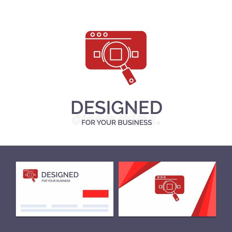 Kreative Visitenkarte- und Logoschablone Forschung, analytisch, Analytics, Daten, Informationen, Suche, Netz-Vektor-Illustration stock abbildung