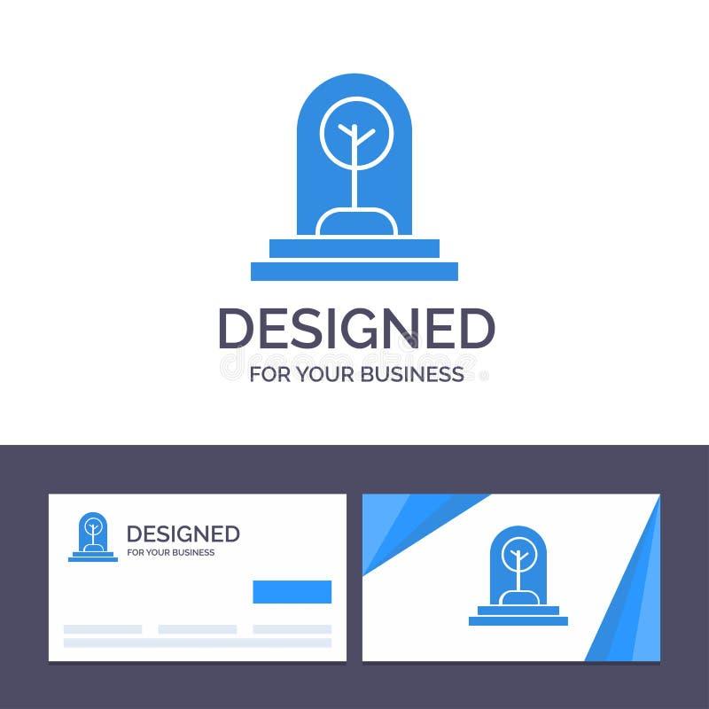 Kreative Visitenkarte- und Logoschablone Geschäft, Wachstum, neu, Anlage, Baum-Vektor-Illustration stock abbildung