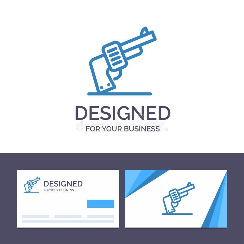 Kreative Visitenkarte- und Logoschablone Gewehr, Hand, Waffe, amerikanische Vektor-Illustration lizenzfreie abbildung