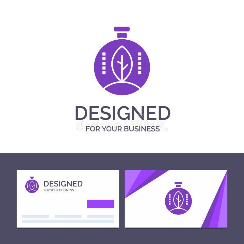 Kreative Visitenkarte- und Logoschablone Grün, Innovation, Energie, Energie-Vektor-Illustration vektor abbildung