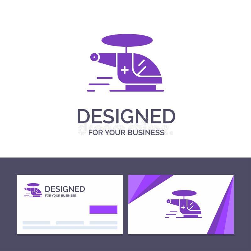 Kreative Visitenkarte- und Logoschablone Hubschrauber, Zerhacker, medizinisch, Krankenwagen, Luft-Vektor-Illustration vektor abbildung