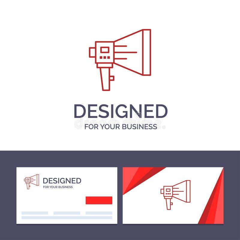 Kreative Visitenkarte- und Logoschablone kündigen, Digital, Lautsprecher, Marketing, Megaphon, Sprecher, Werkzeug-Vektor-Illustra lizenzfreie abbildung