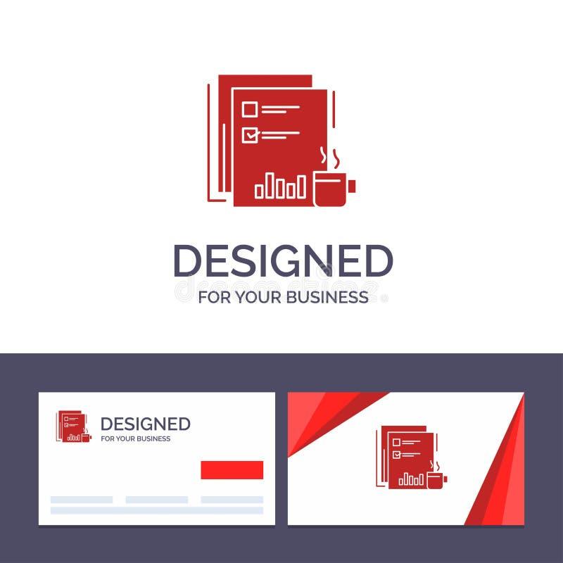 Kreative Visitenkarte- und Logoschablone Kaffee, finanziell, Markt, Nachrichten, Zeitung, Zeitungen, Papiervektor-Illustration vektor abbildung