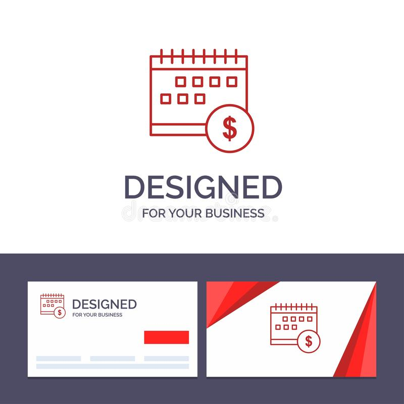 Kreative Visitenkarte- und Logoschablone Kalender, Bankwesen, Dollar, Geld, Zeit, wirtschaftliche Vektor-Illustration lizenzfreie abbildung