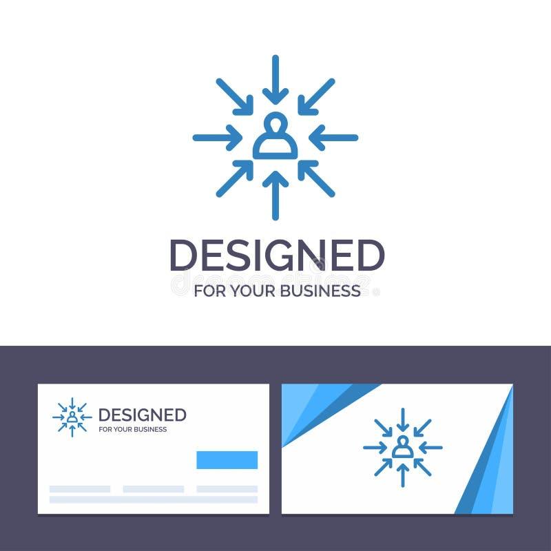 Kreative Visitenkarte- und Logoschablone Kandidat, Wahl, wählen, fokussieren, Auswahl-Vektor-Illustration stock abbildung
