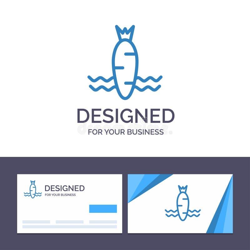 Kreative Visitenkarte- und Logoschablone Karotte, Nahrung, Gemüse, Frühlings-Vektor-Illustration lizenzfreie abbildung
