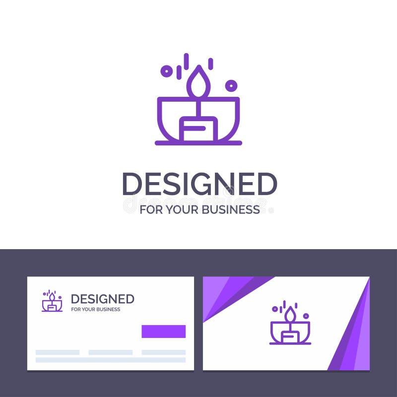 Kreative Visitenkarte- und Logoschablone Kerze, Dunkelheit, Licht, Feuerzeug, Glanz-Vektor-Illustration stock abbildung