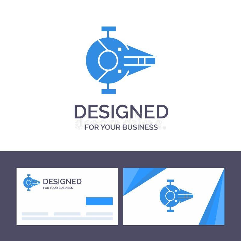 Kreative Visitenkarte- und Logoschablone Kreuzer, Kämpfer, Auffänger, Schiff, Raumfahrzeug-Vektor-Illustration stock abbildung