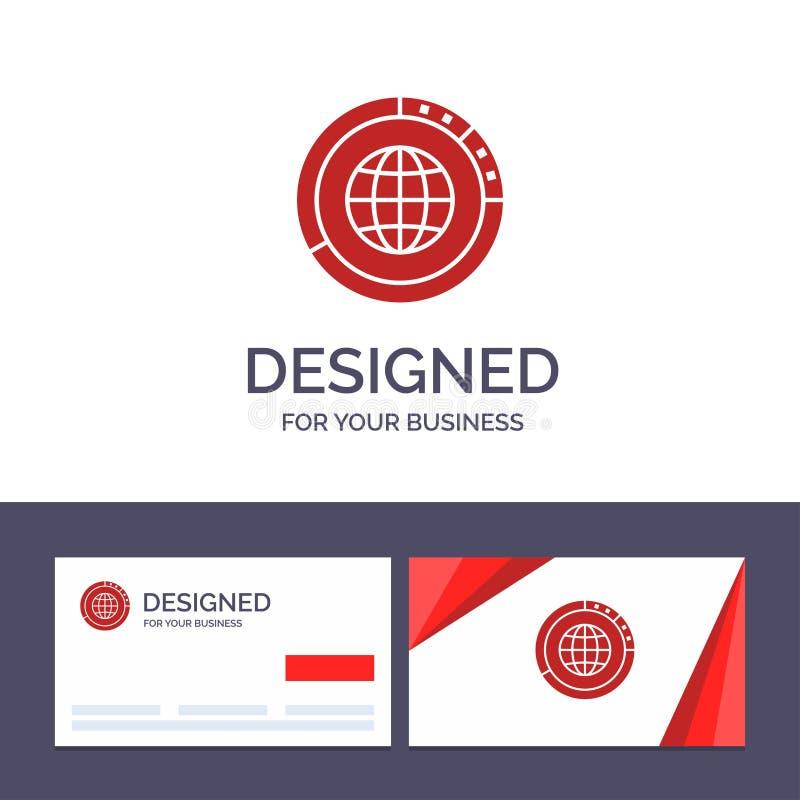 Kreative Visitenkarte- und Logoschablone Management, Daten, global, Kugel, Betriebsmittel, Statistiken, Weltvektor-Illustration lizenzfreie abbildung