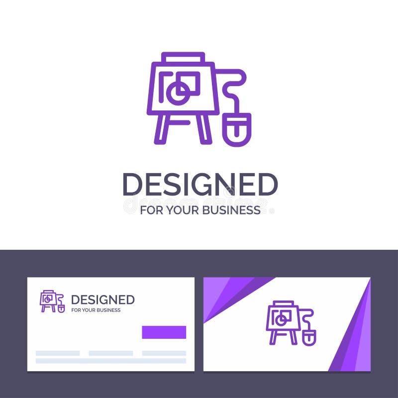 Kreative Visitenkarte- und Logoschablone Maus, on-line, Brett, Ausbildungs-Vektor-Illustration vektor abbildung