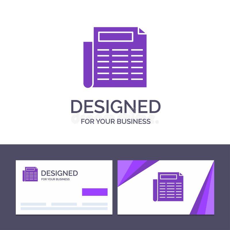 Kreative Visitenkarte- und Logoschablone Nachrichten, Papier, Dokumenten-Vektor-Illustration lizenzfreie abbildung