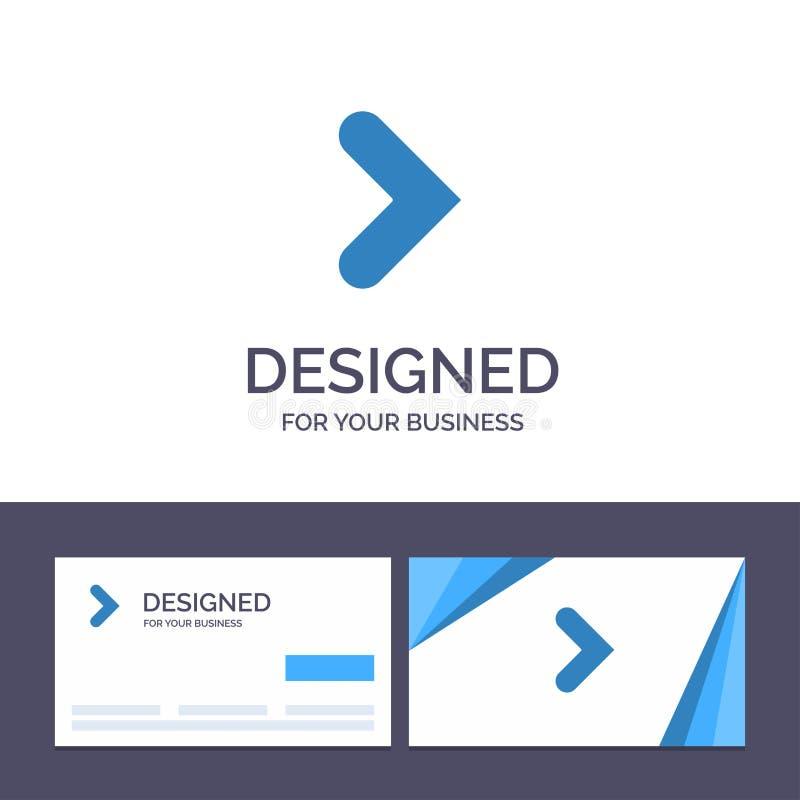 Kreative Visitenkarte- und Logoschablone Pfeil, Recht, Vorwärts, Richtungs-Vektor-Illustration stock abbildung