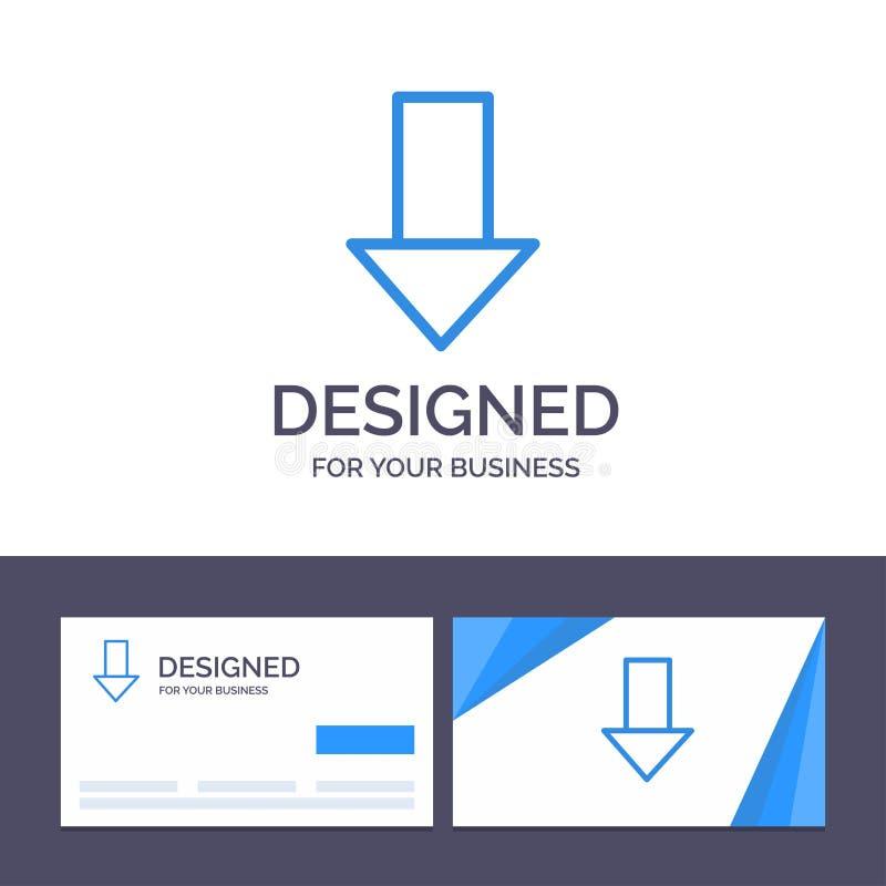 Kreative Visitenkarte- und Logoschablone Pfeil unten hinunter Pfeil, Richtungs-Vektor-Illustration vektor abbildung