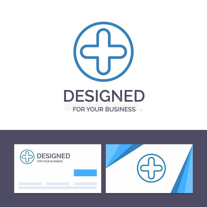 Kreative Visitenkarte- und Logoschablone Plus, Zeichen, Krankenhaus, medizinische Vektor-Illustration stock abbildung