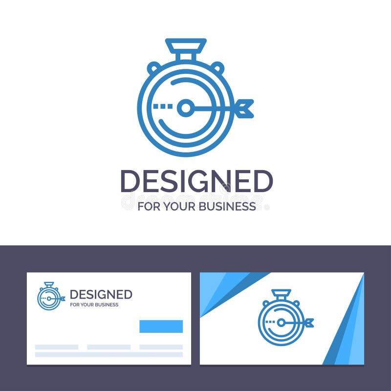 Kreative Visitenkarte- und Logoschablone Produkteinführung, Management, Optimierung, Freigabe, Stoppuhr-Vektor-Illustration lizenzfreie abbildung