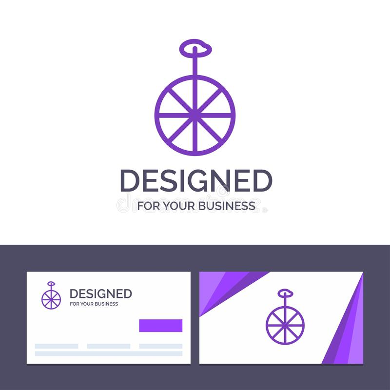Kreative Visitenkarte- und Logoschablone Rad, Zyklus, Zirkus-Vektor-Illustration vektor abbildung