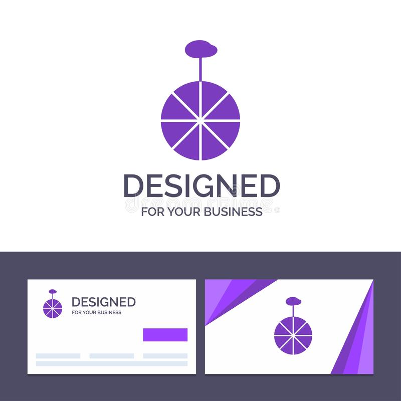 Kreative Visitenkarte- und Logoschablone Rad, Zyklus, Zirkus-Vektor-Illustration stock abbildung