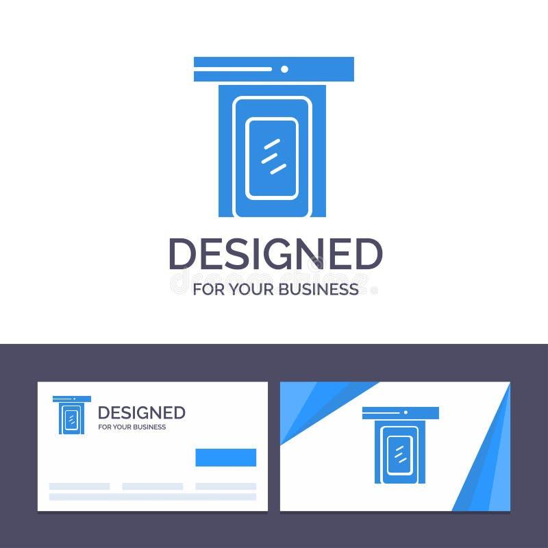 Kreative Visitenkarte- und Logoschablone regnerisch, Wolke, Tür, Hauptvektor-Illustration vektor abbildung