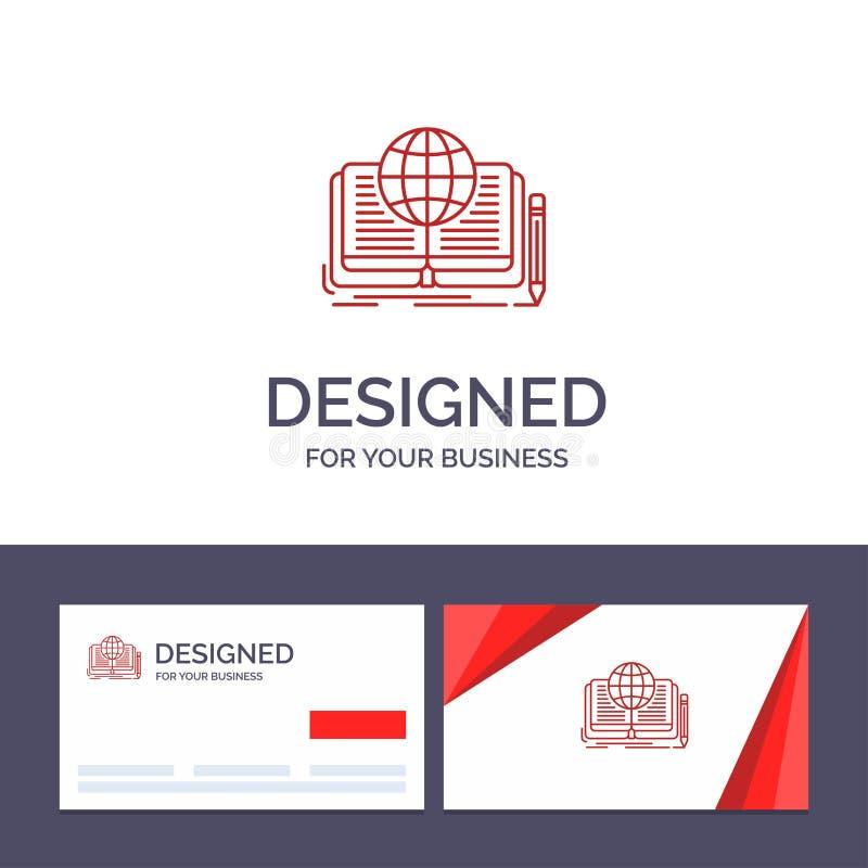 Kreative Visitenkarte- und Logoschablone Schreiben, Roman, Buch, Geschichte, Theorie-Vektor-Illustration lizenzfreie abbildung