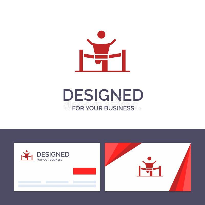 Kreative Visitenkarte- und Logoschablone Sieger, Geschäft, Ende, Führer, Führung, Mann, Rennvektor-Illustration stock abbildung