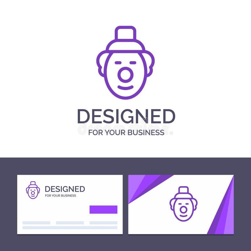 Kreative Visitenkarte- und Logoschablone Spassvogel, Clown, Zirkus-Vektor-Illustration lizenzfreie abbildung