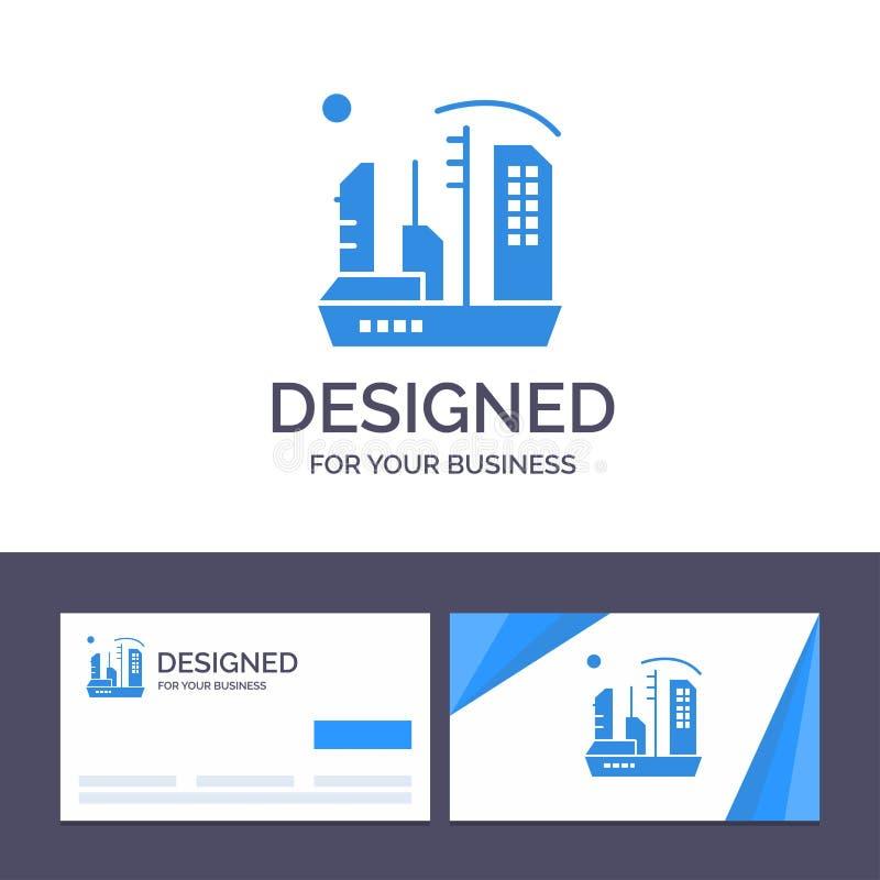 Kreative Visitenkarte- und Logoschablone Stadt, Besiedlung, Kolonie, Haube, Expansions-Vektor-Illustration lizenzfreie abbildung