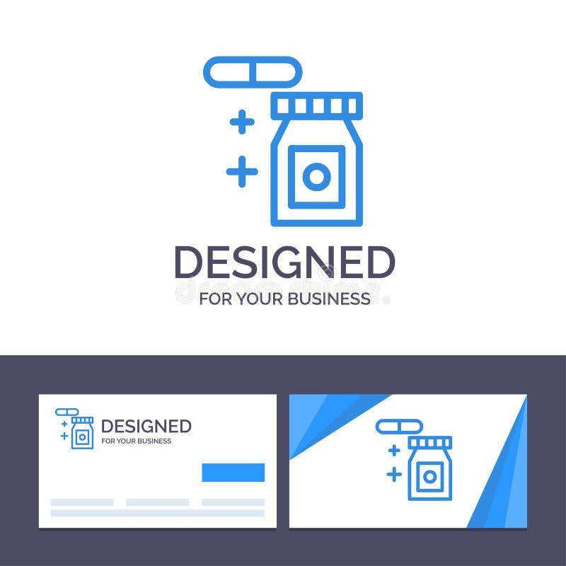 Kreative Visitenkarte- und Logoschablone Tablet, regnerisch, Temperatur-Vektor-Illustration lizenzfreie abbildung