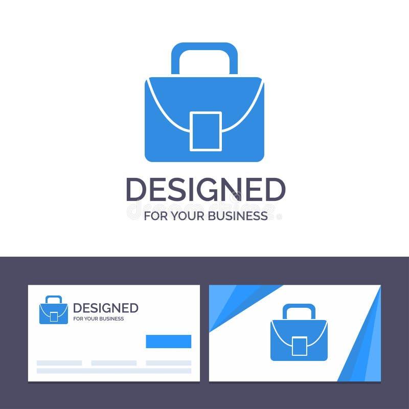 Kreative Visitenkarte- und Logoschablone Tasche, Arbeitskraft, logistische, globale Vektor-Illustration stock abbildung