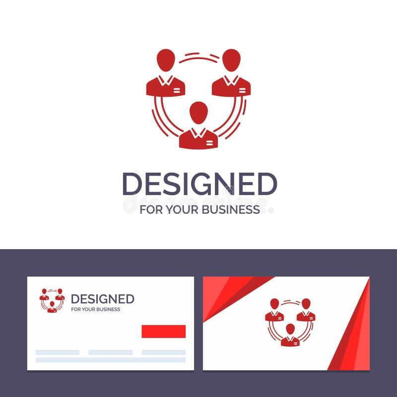 Kreative Visitenkarte- und Logoschablone Team, Geschäft, Kommunikation, Hierarchie, Leute, sozial, Struktur-Vektor-Illustration stock abbildung