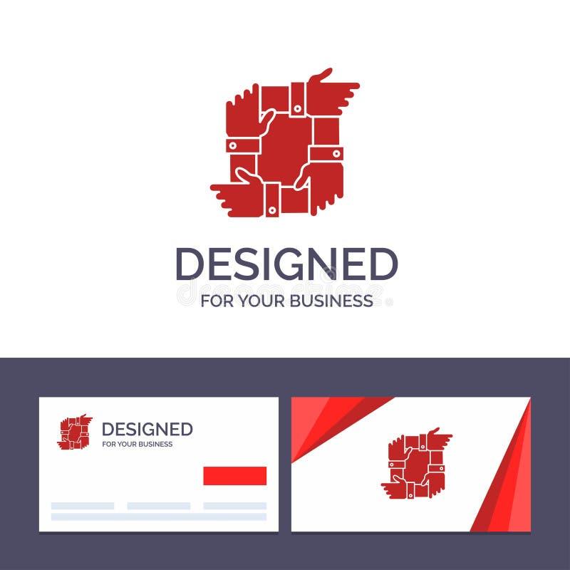 Kreative Visitenkarte- und Logoschablone Teamwork, Geschäft, Zusammenarbeit, Hände, Partnerschaft, Team Vector Illustration lizenzfreie abbildung